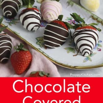 chocolate covered strawberries with striped decoration