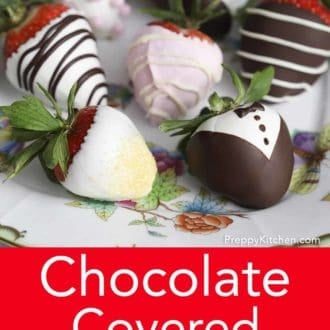 chocolate covered strawberries with tuxedo decoration