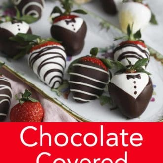 various chocolate covered strawberries with tuxedo decoration