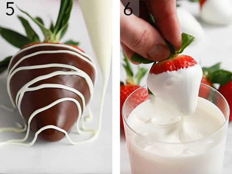 A strawberry getting dipped in white candy melt.