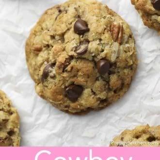 cowboy cookies on parchment paper