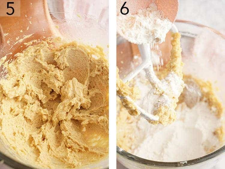 Flour getting added to cookie dough.