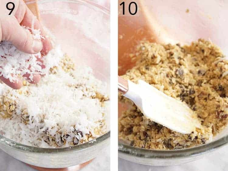 Chocolate chips and shredded coconut getting added to cowboy cookie dough.