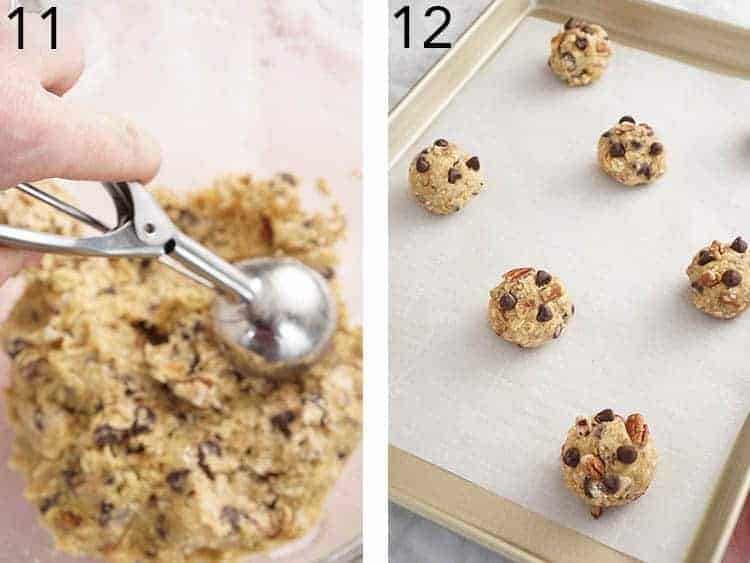 Cowboy cookie dough getting rolled into balls and placed on a parchment-lined baking sheet.