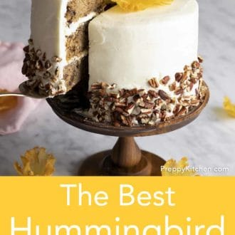 hummingbird cake on a stand