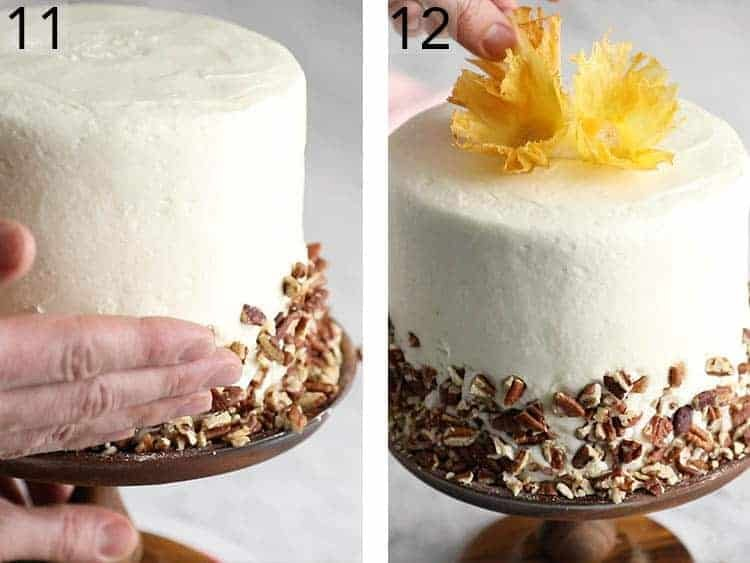 A hummingbird cake getting a skirt of toasted pecans and a crown of pineapple flowers.