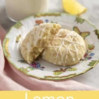 lemon cookies stacked on a plate