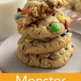 stacked monster cookies on a plate
