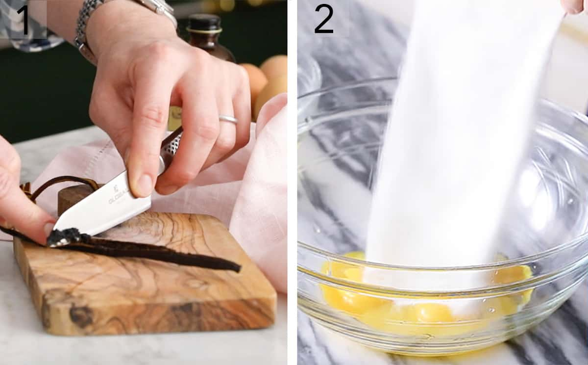 Two photos showing egg yolks and sugar mixing
