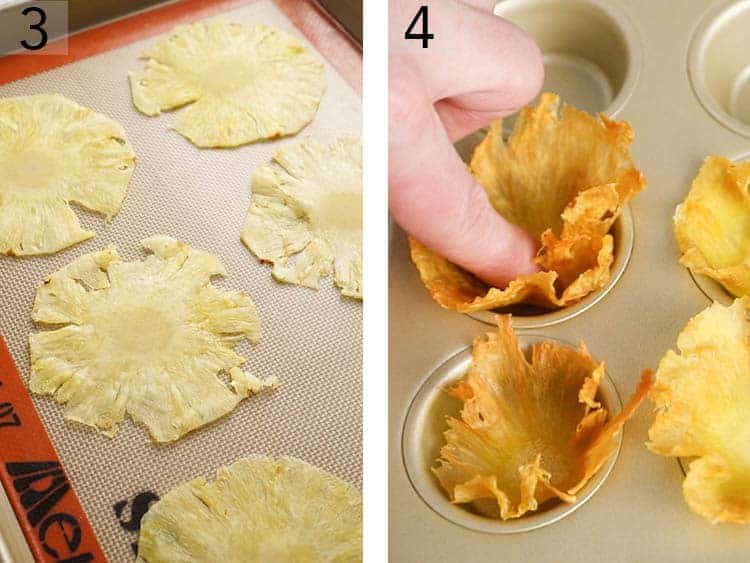 Pineapple slices baking and being formed into flowers.