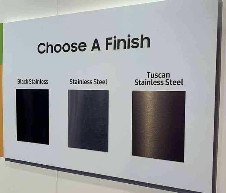 Three stainless steel finishes for Samsung products