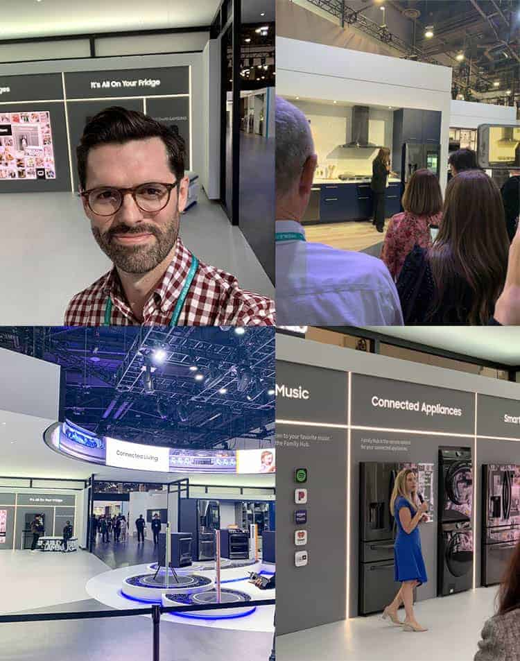 A photo collage of the Samsung exhibit at KBIS