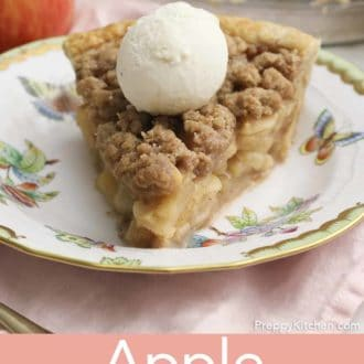 piece of apple crumble pie on a plate