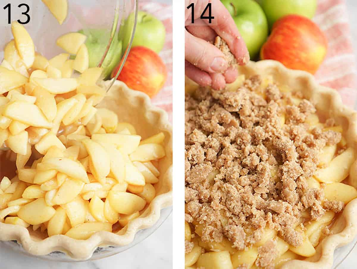 Apple crumble pie being assembled before baking.