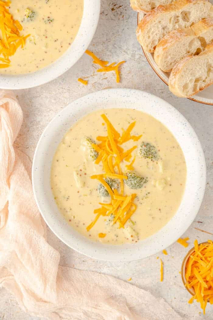 An overhead shot of broccoli cheese soup