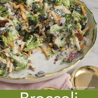 broccoli salad in a serving bowl