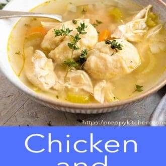 chicken and dumplings in a gray bowl