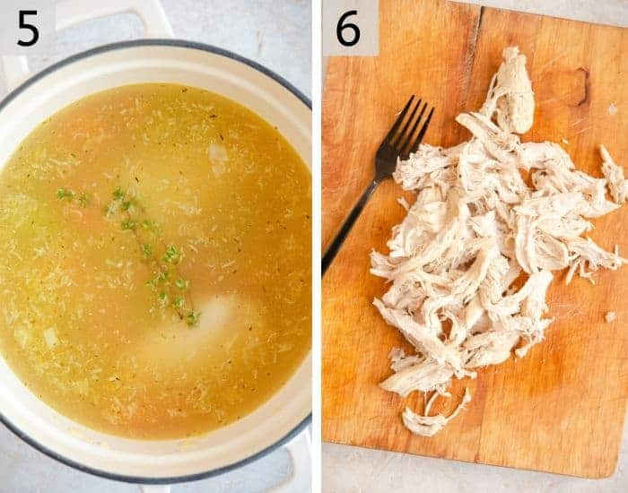 Two shots showing how to poach and shred chicken
