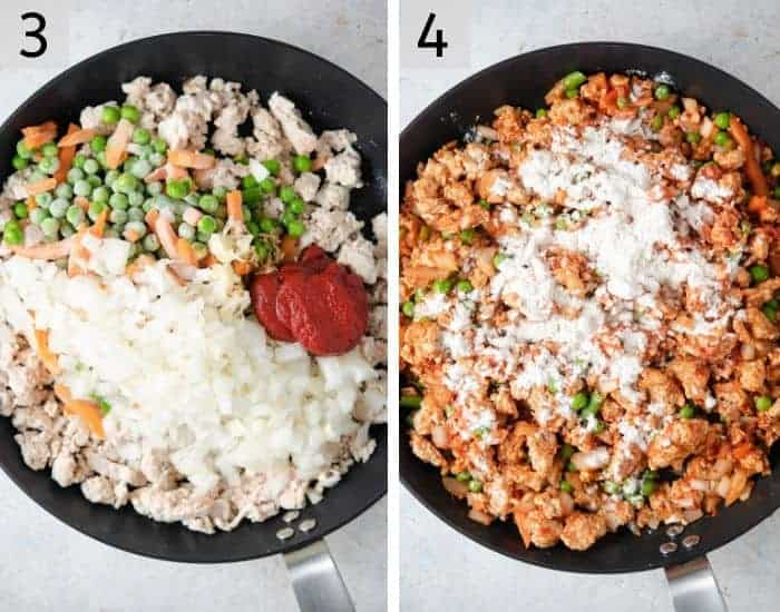 Two photos showing how to make a meat sauce