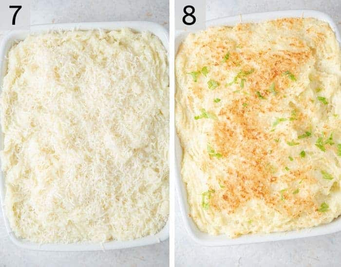 Two photos of a shepherds pie covered with mash