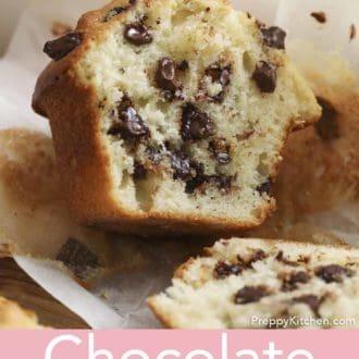 chocolate chip muffin cut in half