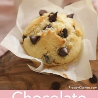 chocolate chip muffin in a muffin paper