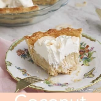 piece of coconut pie on a plate