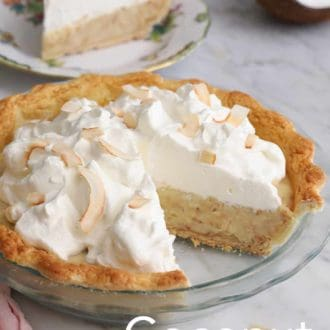 coconut pie in a glass pie dish