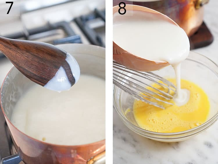 Coconut cream pie filling getting tempered with egg yolks.