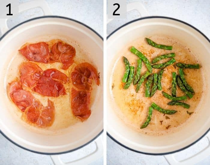 Two photos showing how to make crispy prosciutto and asparagus