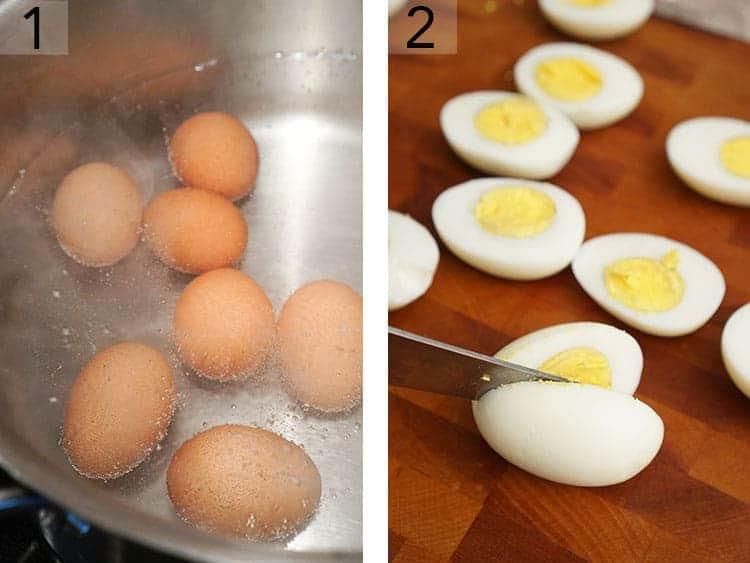 Eggs getting hardboiled then cut in half