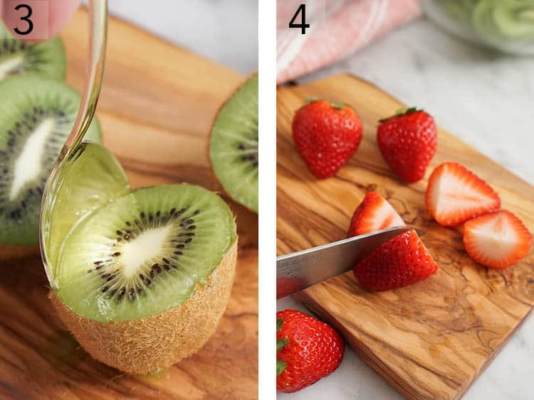 Kiwis and strawberries getting cut for a fruit salad.