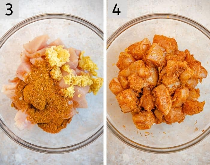 Two photos showing how to marinate chicken to make chicken tikka masala