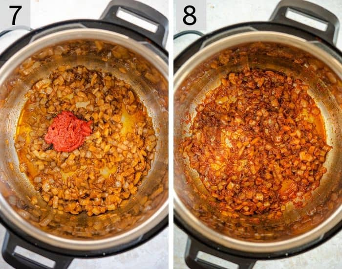 Two photos showing how to make a curry