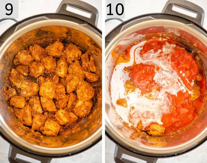 Two photos showing how to make chicken curry in the instant pot