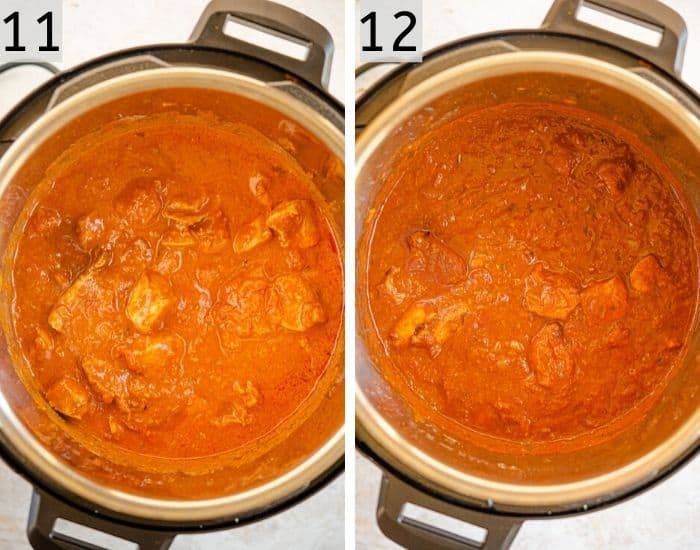 Two photos showing before and after cooking chicken tikka masala in the instant pot