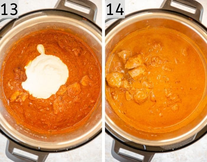 Two photos showing chicken tikka masala cooked in the instant pot