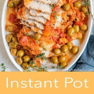 instant pot pork loin on a serving platter