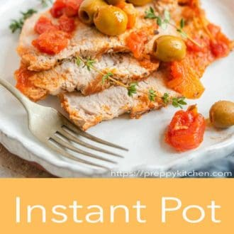 instant pot pork loin on a plate with fork