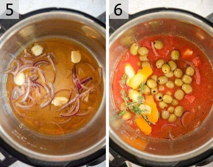 Two photos showing how to make tomato sauce with olives