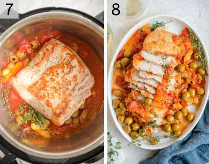 Two photos showing a finished instant pot pork loin