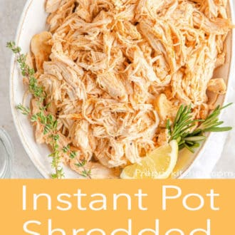 instant pot shredded chicken in a bowl