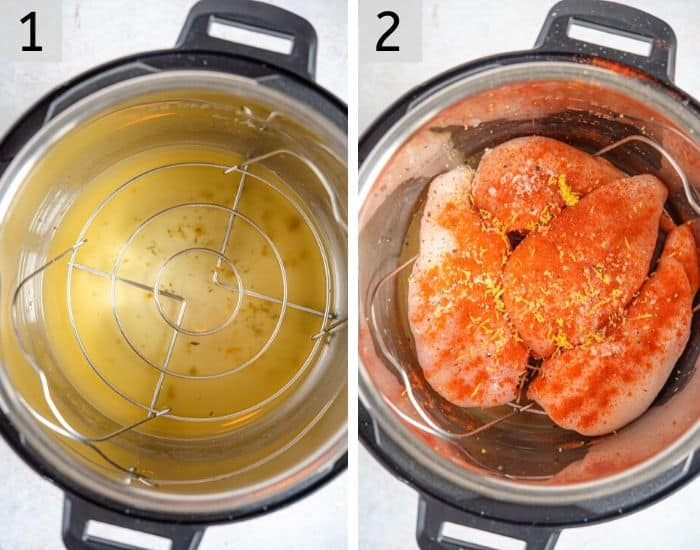 Two photos showing how to prepare shredded chicken in an instant pot