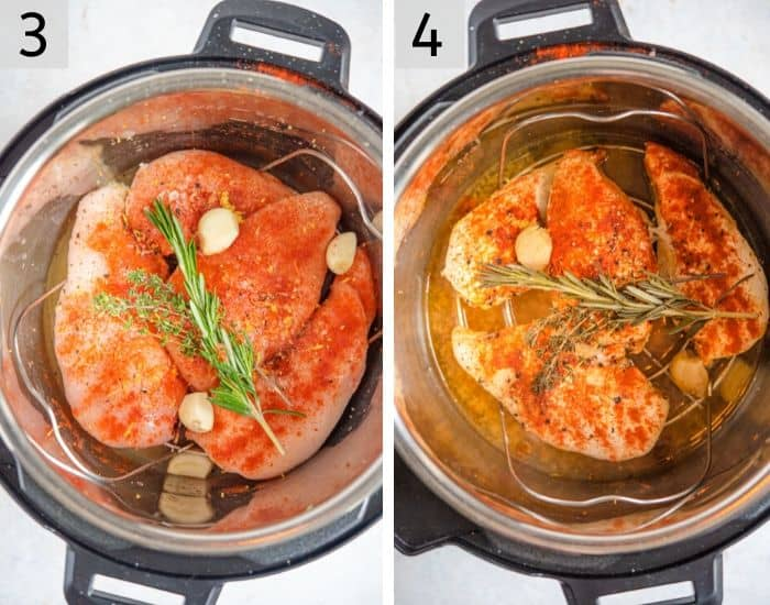 Two photos showing how to make Instant Pot Shredded Chicken