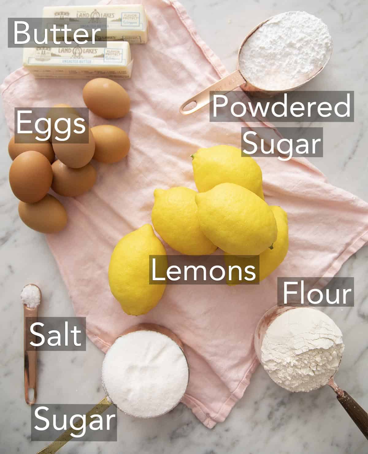 Ingredients for Lemon bars on a counter