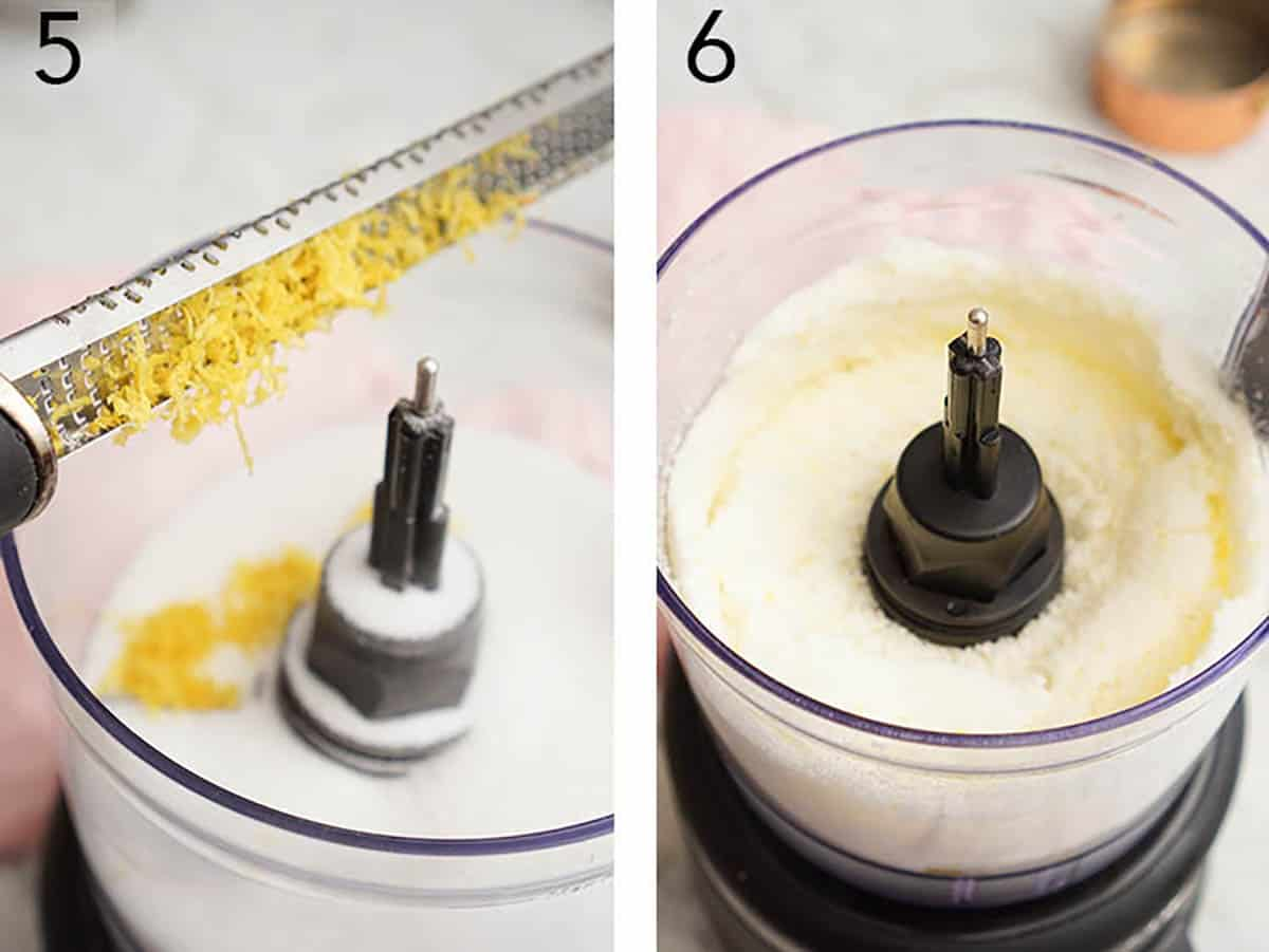 Lemon zest being grated into a food processor then pulsed to make lemon sugar.