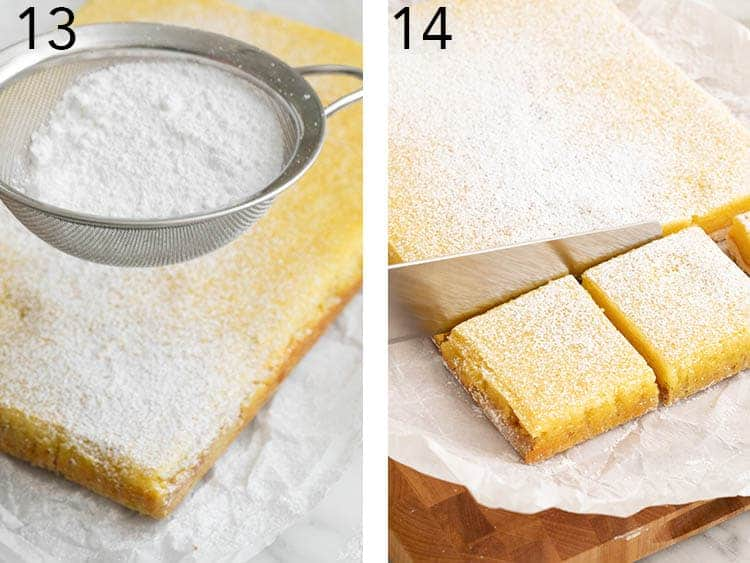 Lemon bars being dusted with powdered sugar and cut into squares.