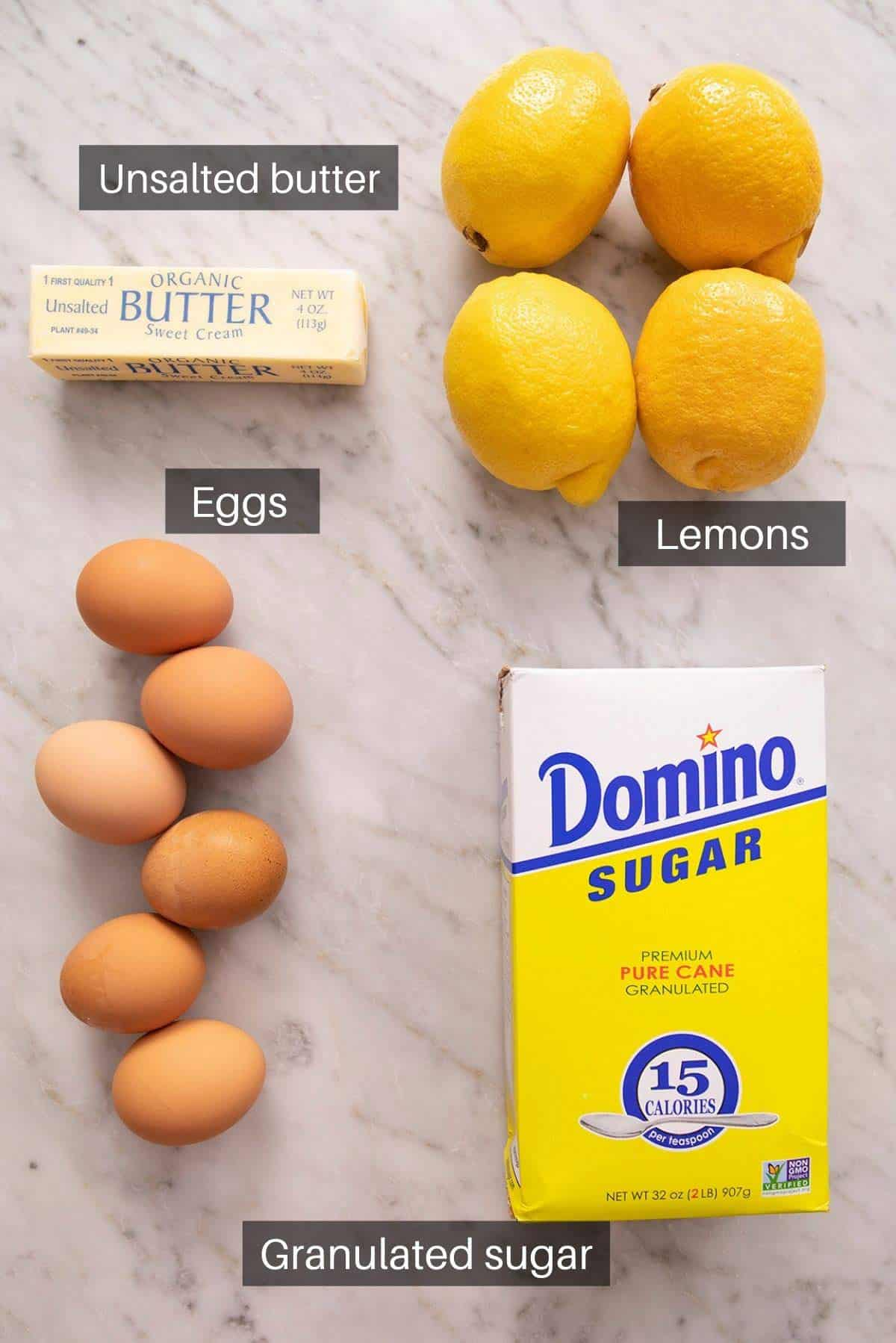An overhead shot of all the ingredients you need to make lemon curd