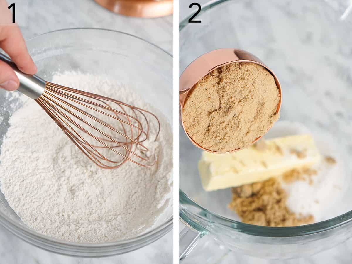 Two photos showing dry and wet ingredients being whisked together and brown sugar being added to butter.