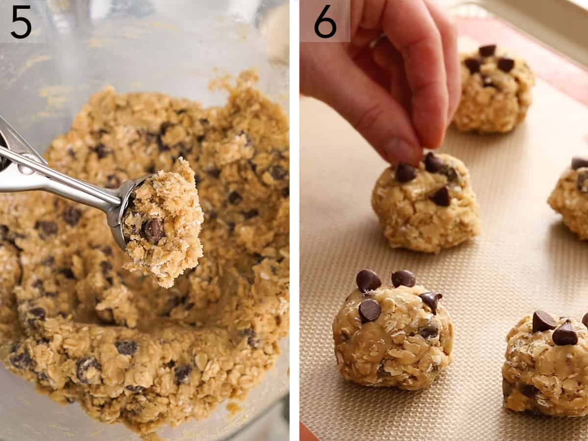 Two photos showing cookie dough being scooped and then placed on a cookie sheet.